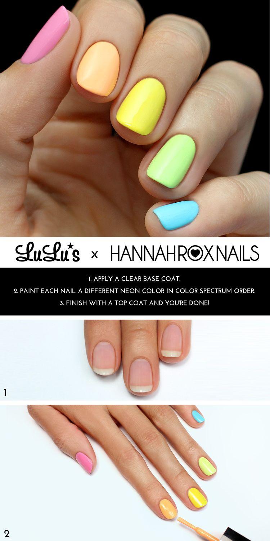 Mani Monday: Neon Rainbow Nail Tutorial   Pinterest   Neon, Mondays ...
