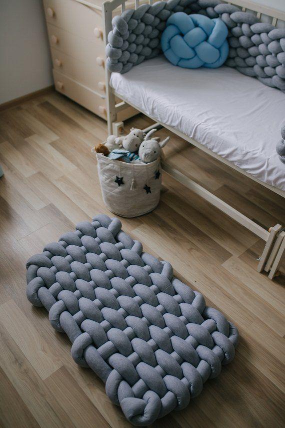 nursery rug Montessori play mat floor knot pillow pink | Etsy