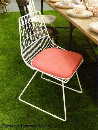 jardin Graphique métal blancdéco Chaise vintage de 8wmNn0v