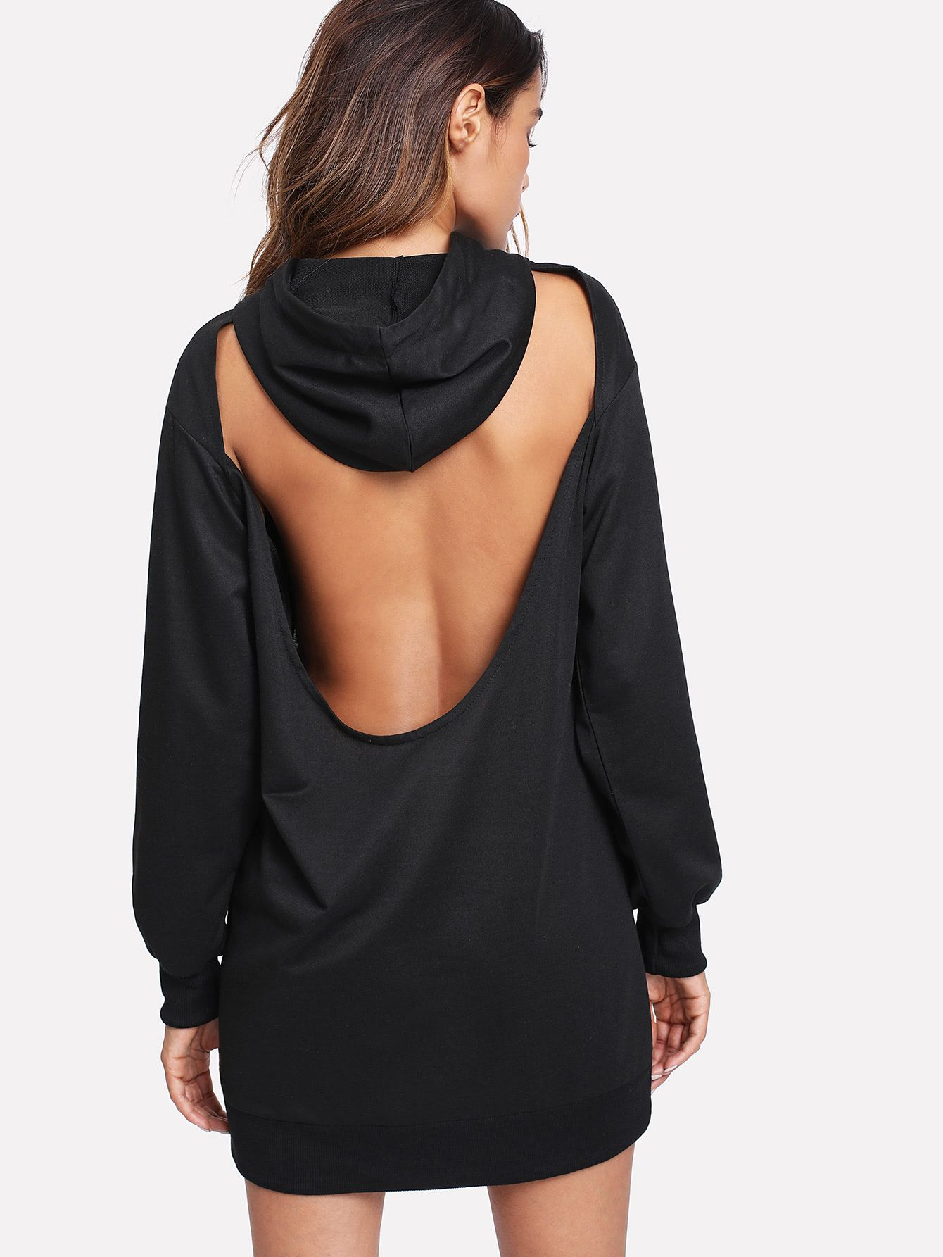 Open Back Drawstring Hoodie Dress (With images) Hoodie