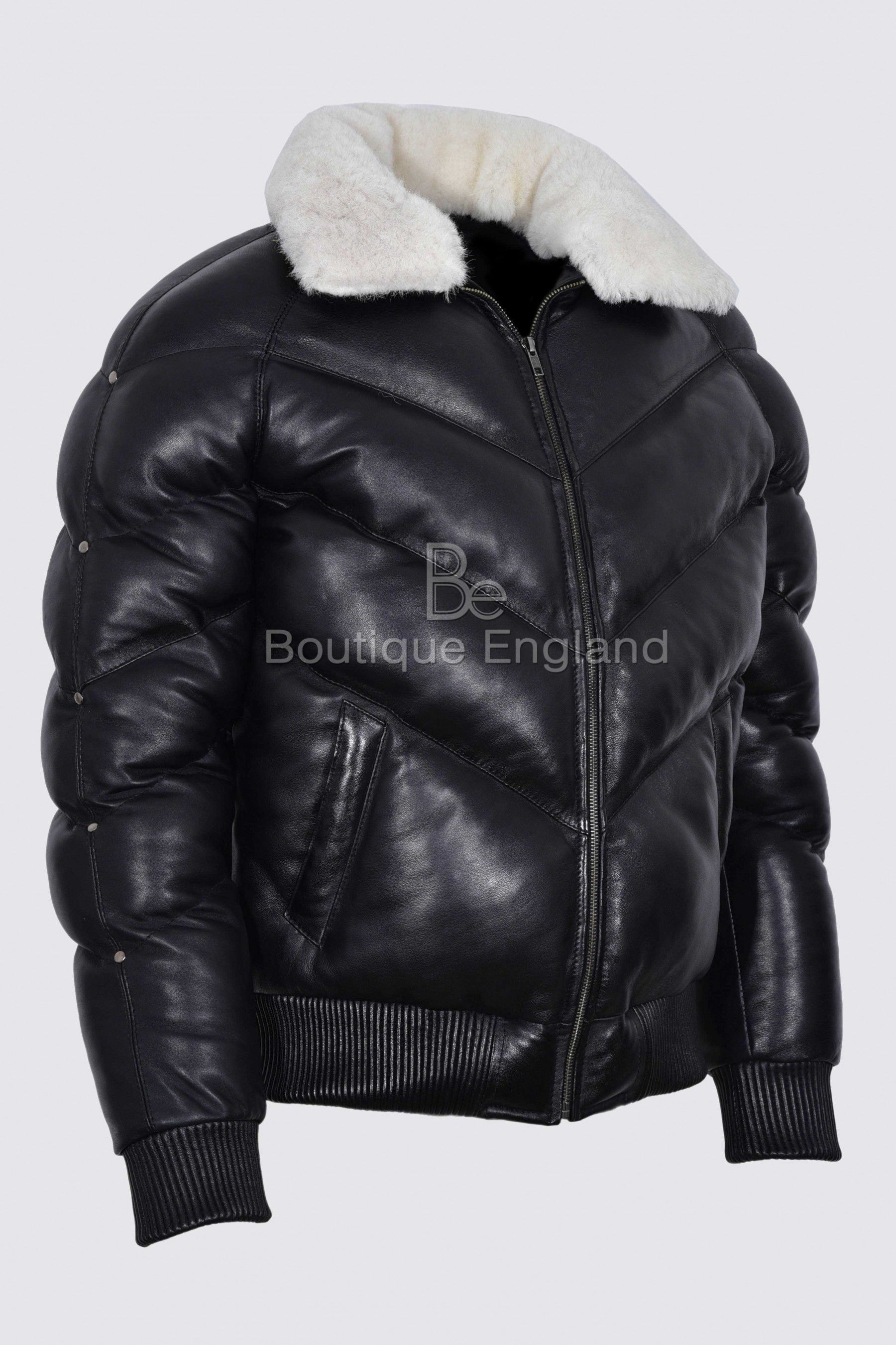 ACE Men's Puffer Black Real Leather Jacket White Shearling