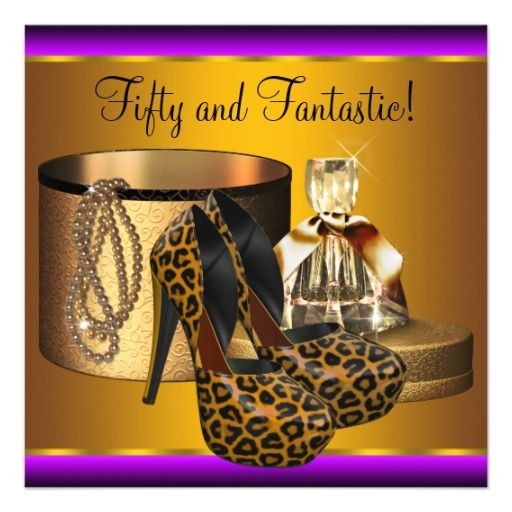 Silhouette Fifty Fab Woman: High Heel Shoes Leopard Gold Womans 50th Birthday