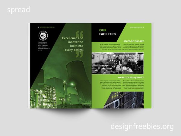 Free Black and Green Company Profile InDesign Template Free - professional business profile template