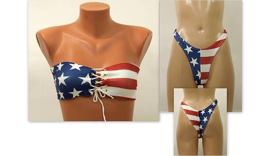 a445068a31e9c American Flag Bandeau/USA Flag lace up bandeau bikini top and high leg  bottoms/Swimsuits women/Plus size swimwear/4th July/Bathing suits