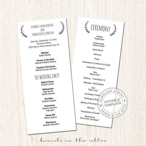 Printable Wedding Program Template Download Wedding Schedule