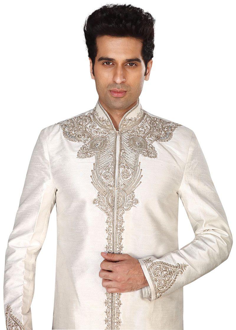 masti.co.uk offers Ivory Raw Silk Indian Sherwani Suit by Ladlee ...