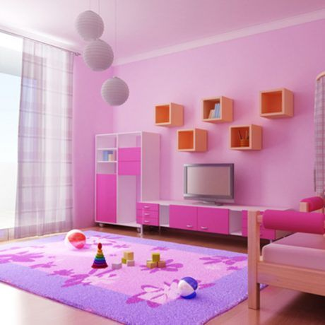 Bedroom : Excellent Girls Bedroom Design With Pink Painted