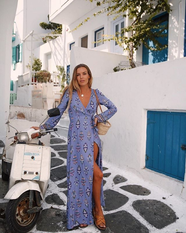 81e6e2c50d9231 The blue hues of Greece ~ @olivecooke is heaven in our Hydra Maxi 🙌🏼  #tigerlilytravels