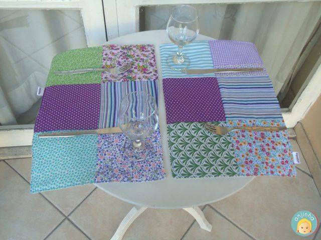 Joguinho americano de retalhos de tecidos (patchwork)