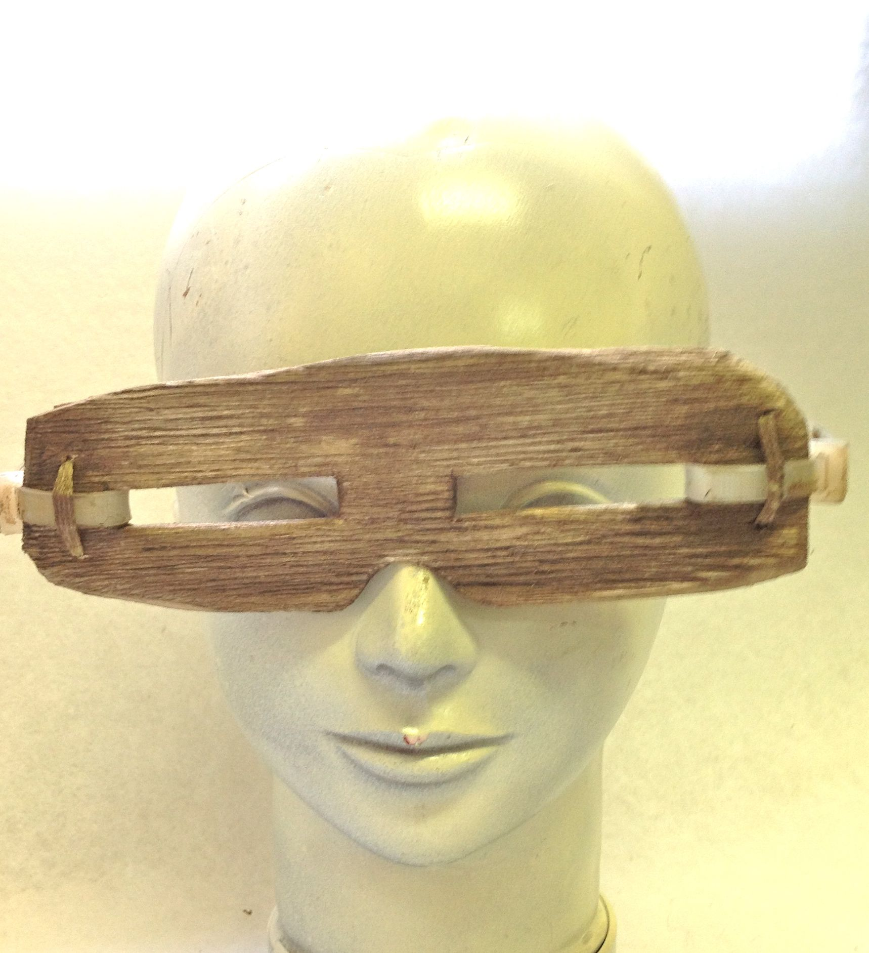 """Post apocolyptic eye protection. Balsa wood, leather, stain.  For """"The Young Ones"""", feature film Kristine Berg"""