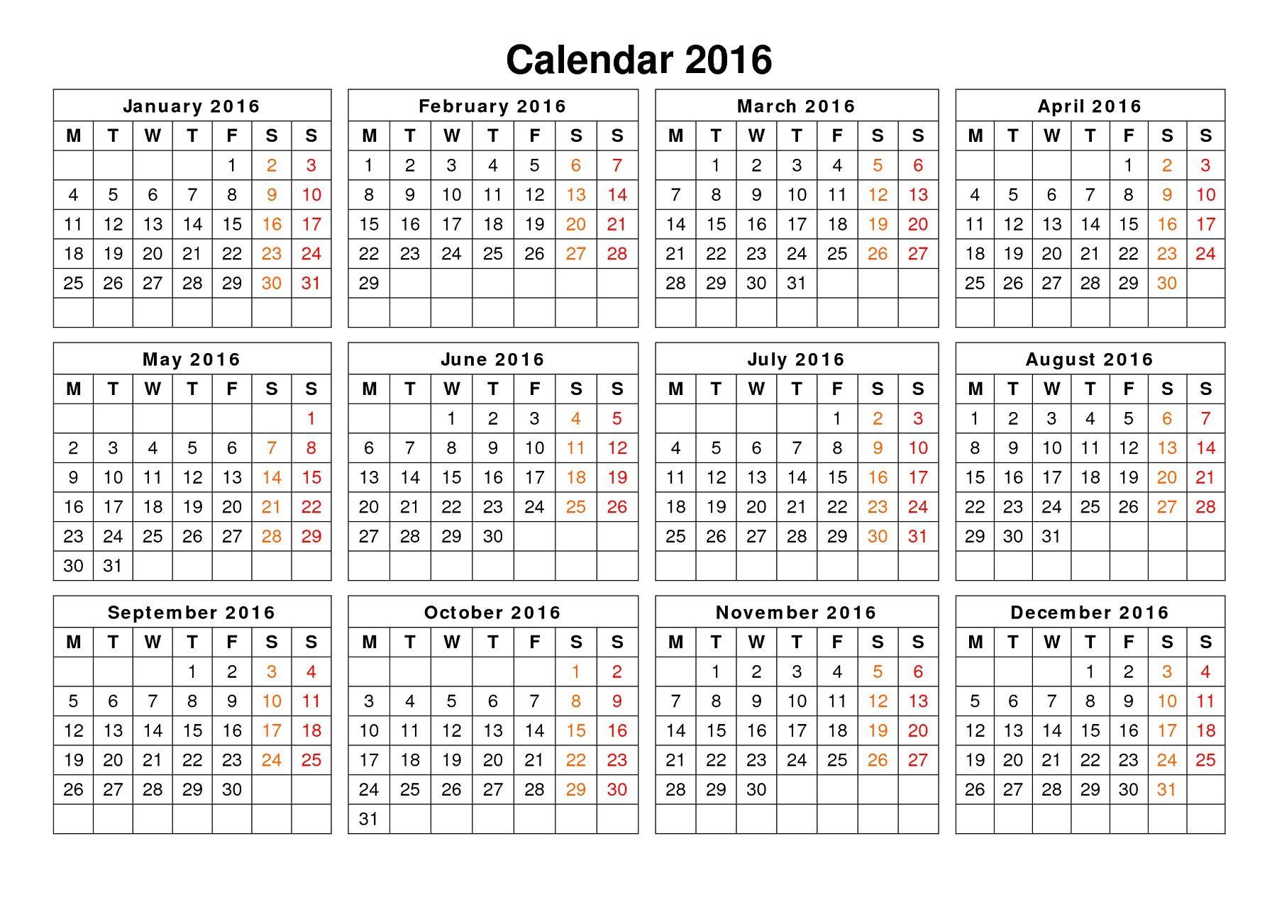 2016 Calendar Printable One Page Blank Calendar Template Calendar Template Calendar Printables