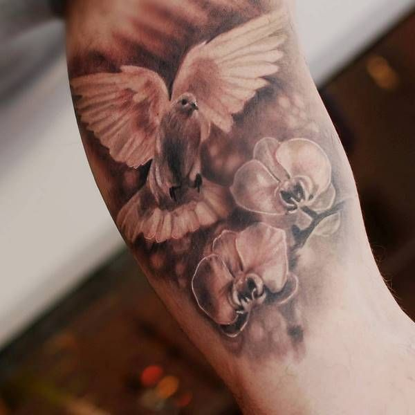 White Dove And Orchids Tattoo Spiritual Symbols Meaning Dove Tattoos Dove Tattoo Bird Tattoo Sleeves