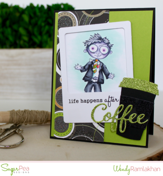 Card by Wendy Ramlakhan for SugarPea Designs -  Stamps: Undying Love and Espresso Yourself - SugarCut Dies: Coffee To Go Cup, Coffee Words, Polaroid Journal Card.