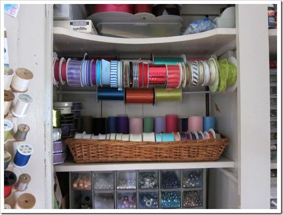 My crafts closet ribbon organization idea cheap storage Cheap and easy organizing ideas
