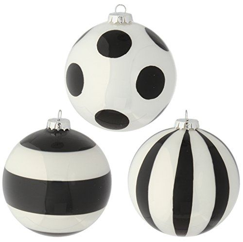 Raz Imports Glittered Black And White Striped And Polka Dot Glass Ball Christmas Tre White Christmas Ornaments Black Christmas Black Christmas Tree Decorations