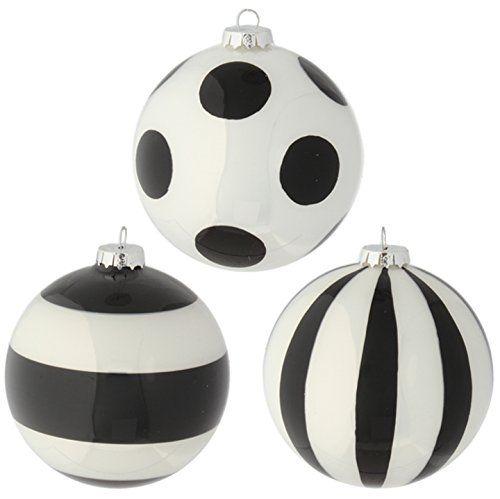RAZ Imports Glittered Black and White Striped and Polka Dot Glass