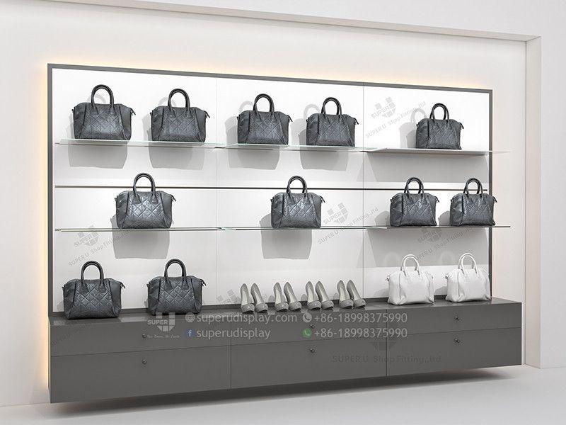 Custom Fashion Wall Glass Purse Display Shelves With Drawer