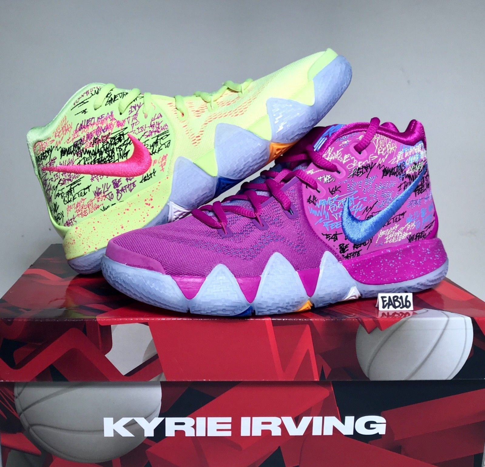 e508b3e62f74 Nike Kyrie Irving 4 IV CONFETTI Purple and Yellow Multi Color Mens GS Kids  Boys