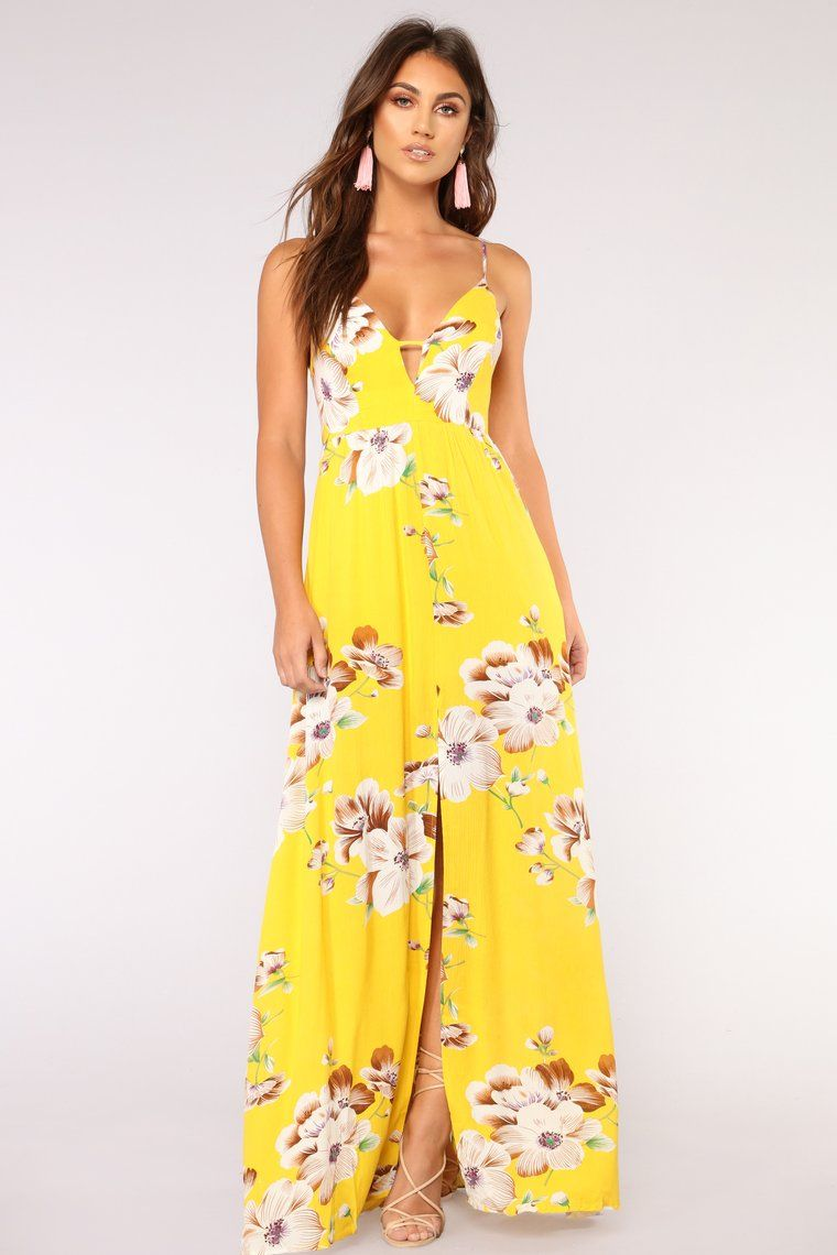Sun city floral dress yellow in 2020 yellow floral