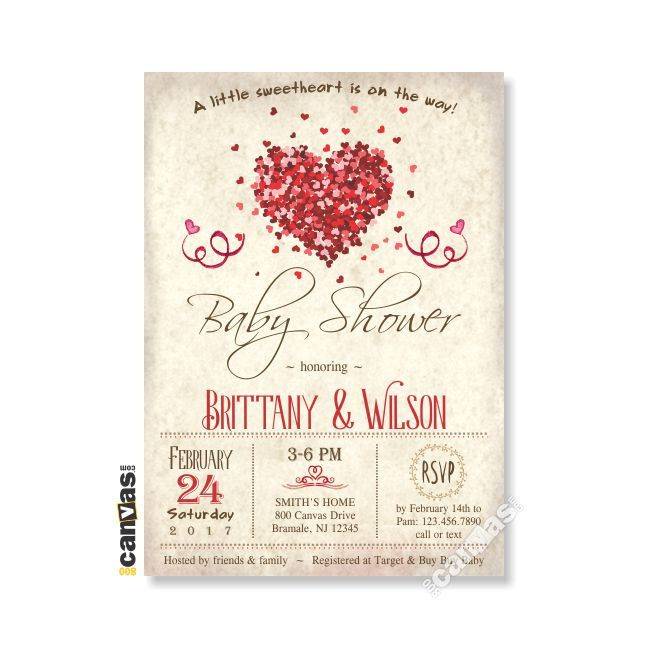 Heart Baby Shower Invitation, Coed Couples Baby Girl Boy Gender Neutral Red  Hearts Vintage Little Sweetheart DiY Printable Or Printed BS46