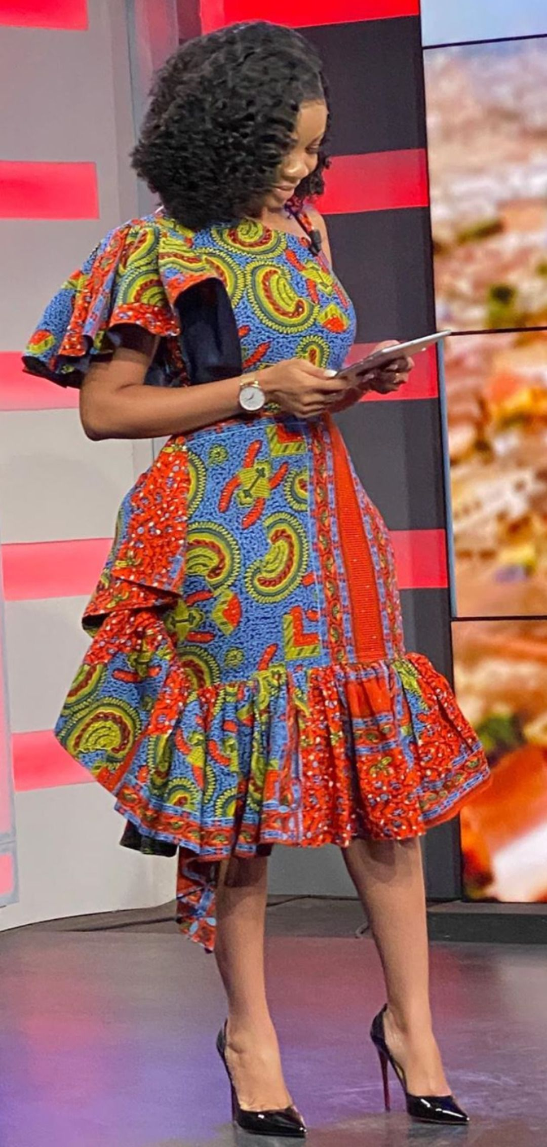 Serwaa Amihere in African prints ready on set