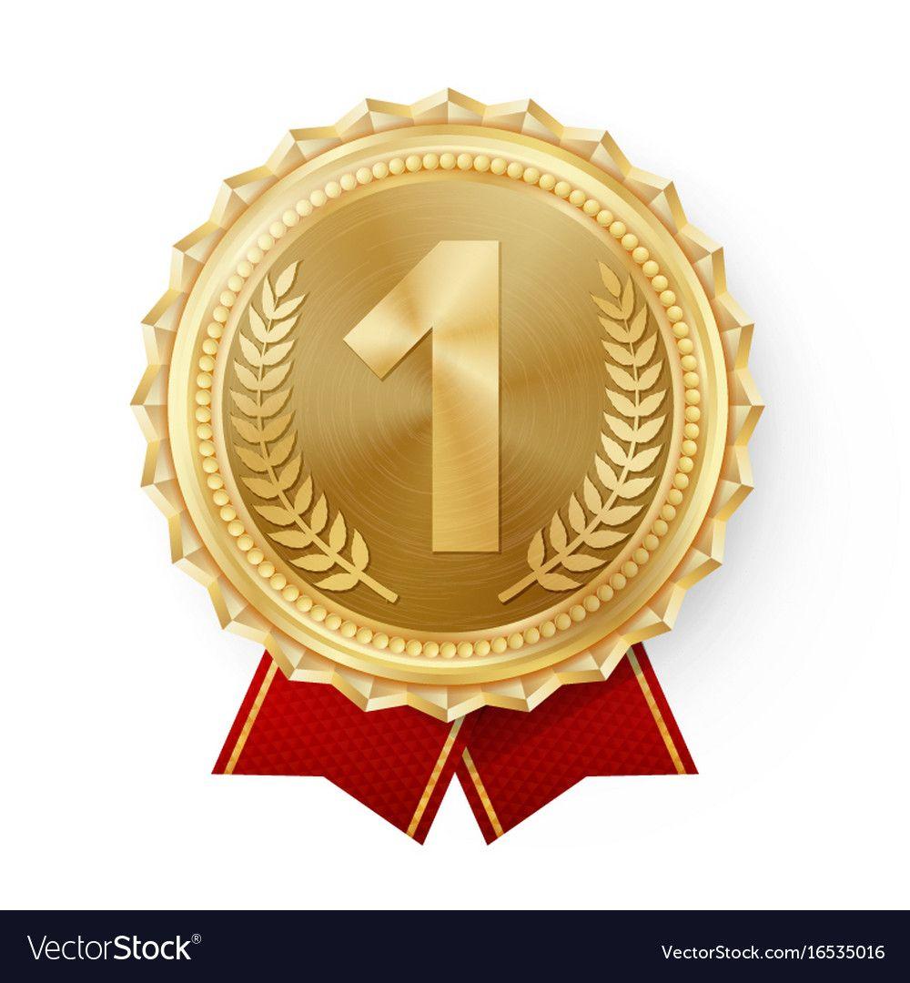 Gold Medal Vector Golden 1st Place Ceremony Winner Honor Prize Isolated On White Olive Branch Realistic Illustra Lencana Karya Seni 3d Perkawinan Romantis