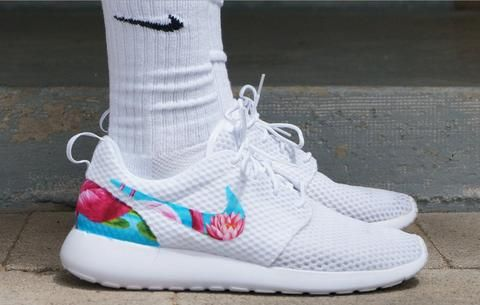 reputable site a31ff 375a5 Custom All White Roshes Flamingo Blue Tropical Edition ...