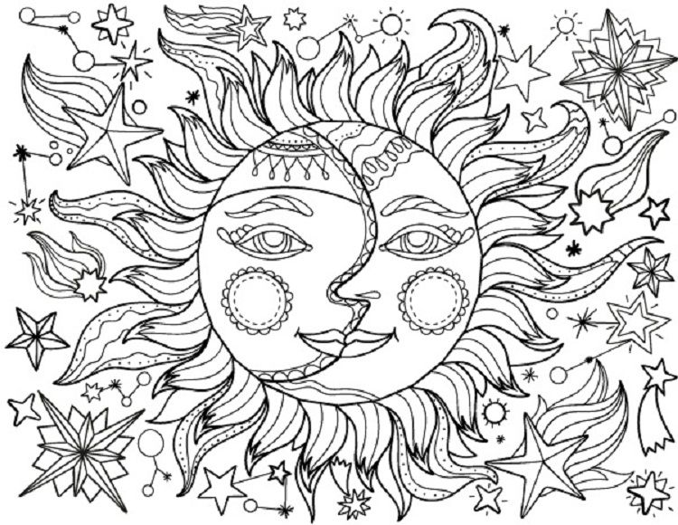 Sun And Moon Coloring Pages For Adults Sun Coloring Pages Moon Coloring Pages Love Coloring Pages