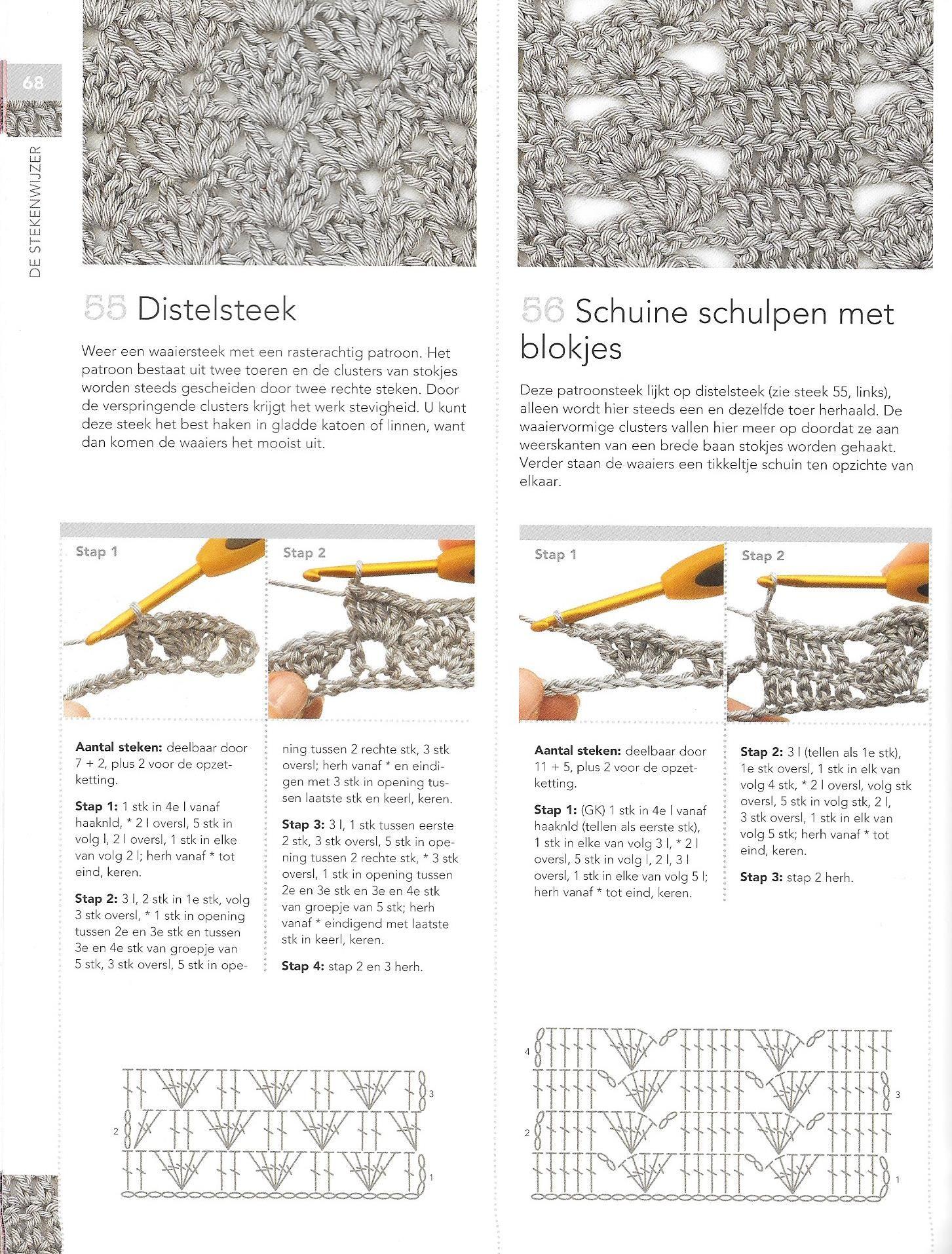 Distelsteek Schuine Schulpen Met Blokjes Steek Haaksteken