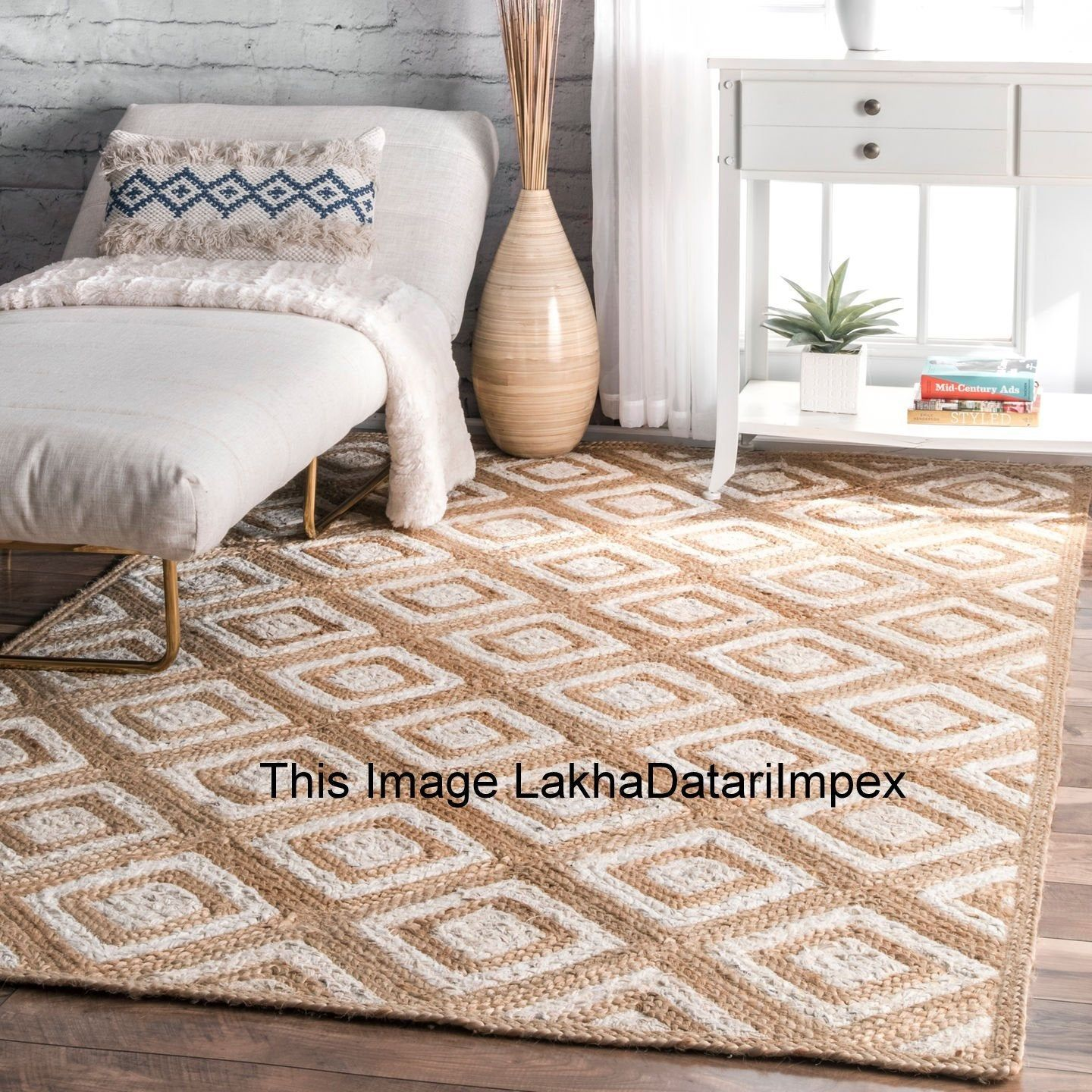 Hand Braided Bohemian Colorful Cotton Chindi Area Rug Multi Colors