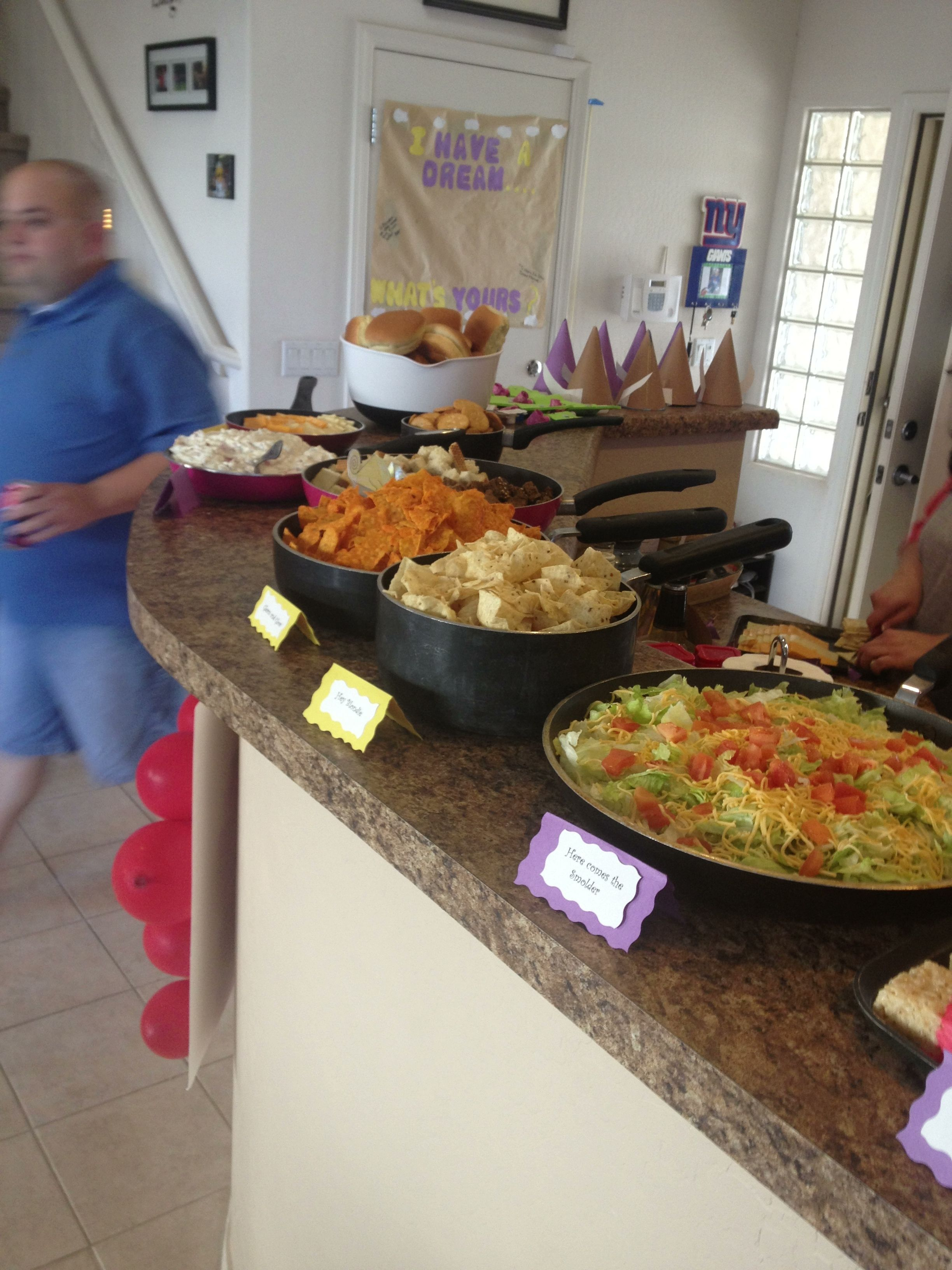 This was a hit! Tangled theme party. It was a hit at my daughters 2nd bday party. Put all the food in frying pans =]