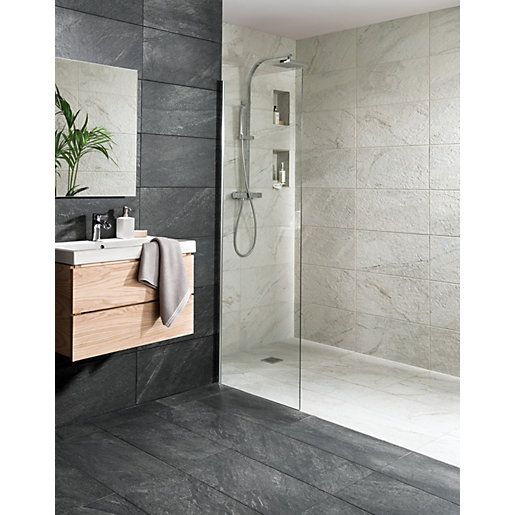 Wickes Amaro Charcoal Porcelain Tile 615 x 308mm ...