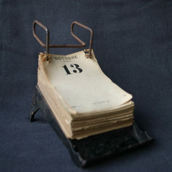 (via Antique used industrial desk calendar by MademoiselleChipotte) - Via Antique Used Industrial Desk Calendar By MademoiselleChipotte