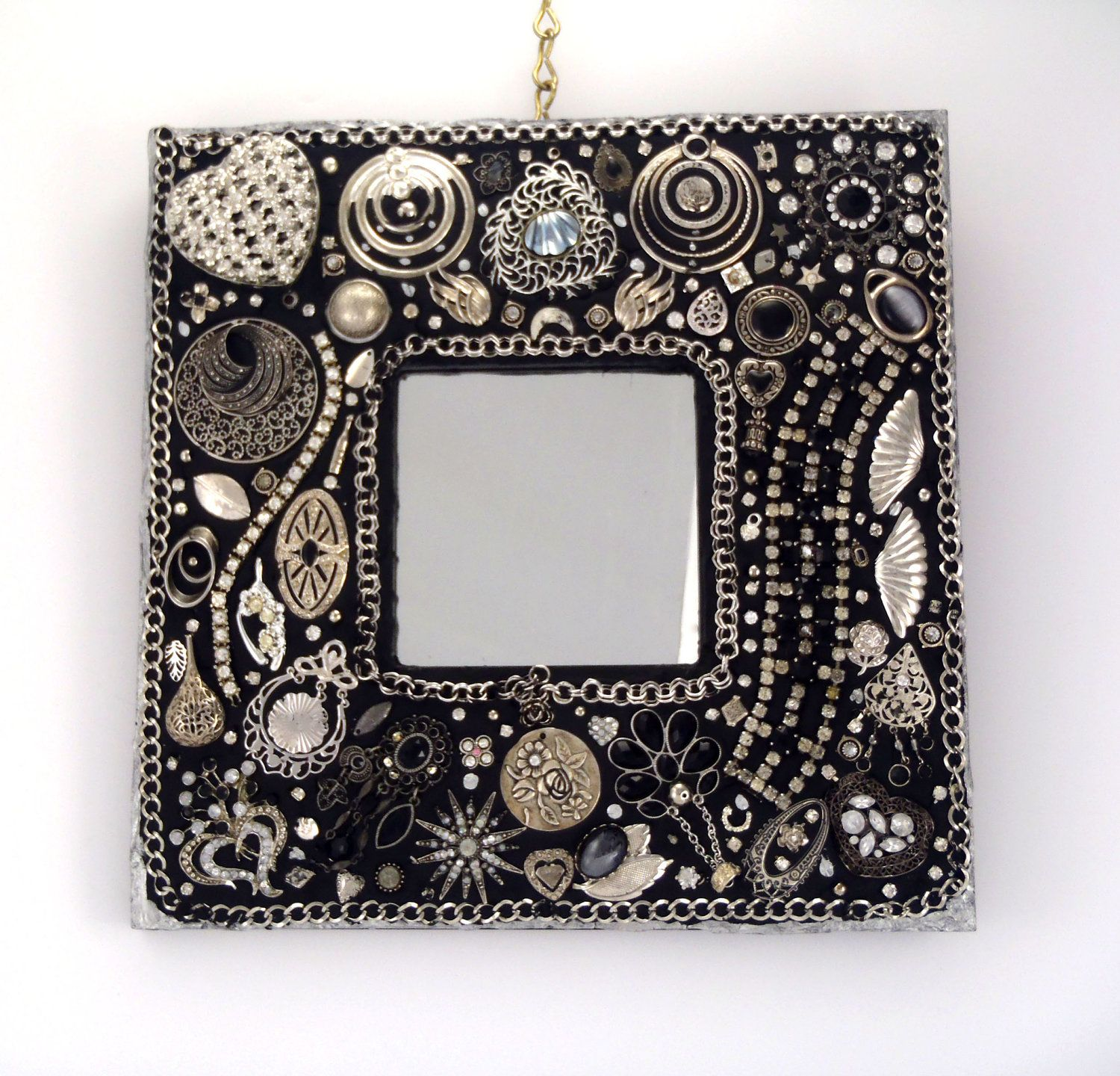 Mosaic Mirror Wall Decor black and silver decorative wall mirror, jeweled frame, repurposed