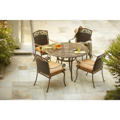 5 Piece Patio Dining Set With Tan Cushions Patio Dining Set Dining Set Outdoor Furniture Sets