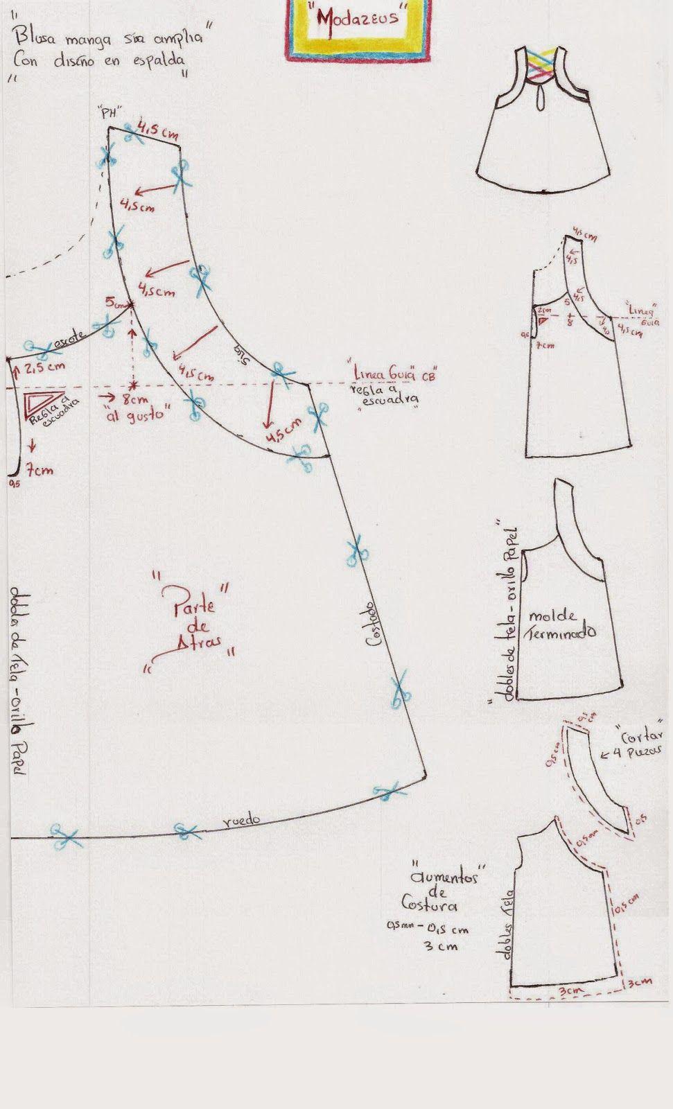 forma de trazar y transformar el diseño de la blusa. #moda #modazeus ...
