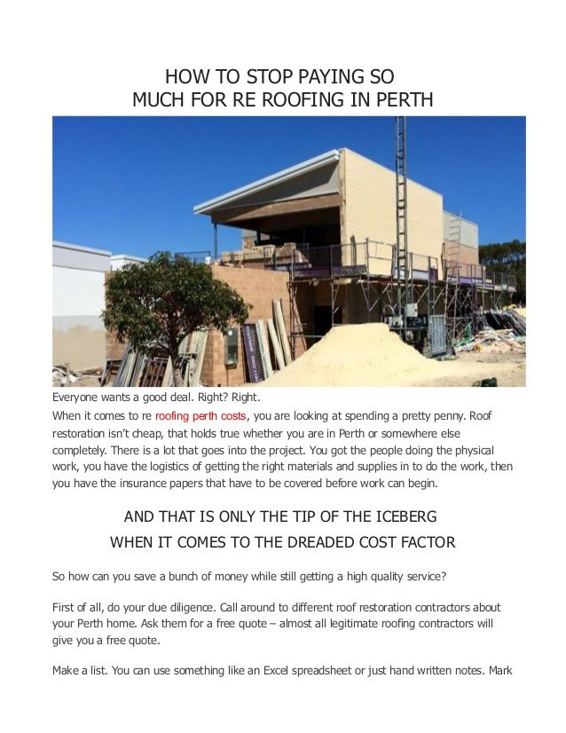 Re Roofing In Perth What You Need To Know Roofing Roof Restoration Perth
