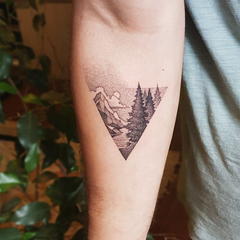 Mountaintattoo Pointillism Nature Outdoor Tattoo Ink Ahornblatt