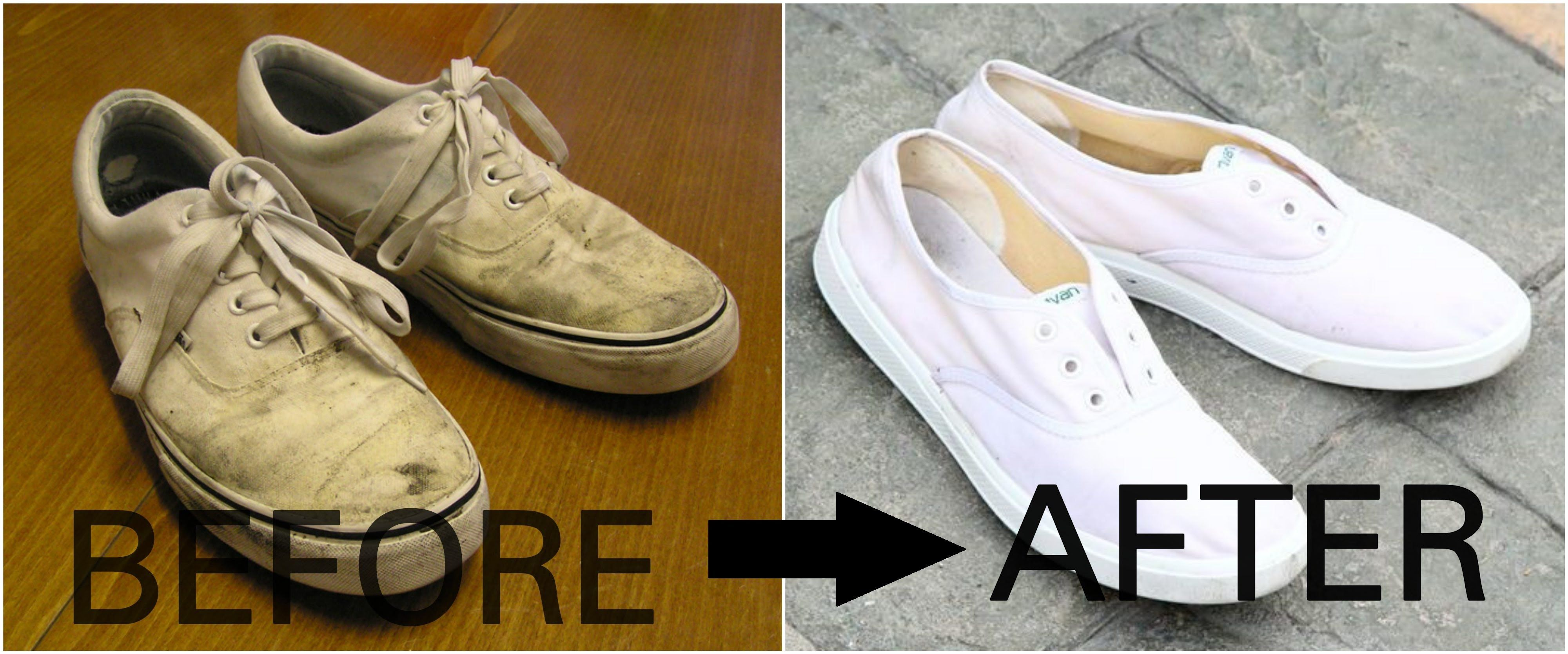 How to clean white canvas shoes with baking soda | Vans | Converse | Adi.