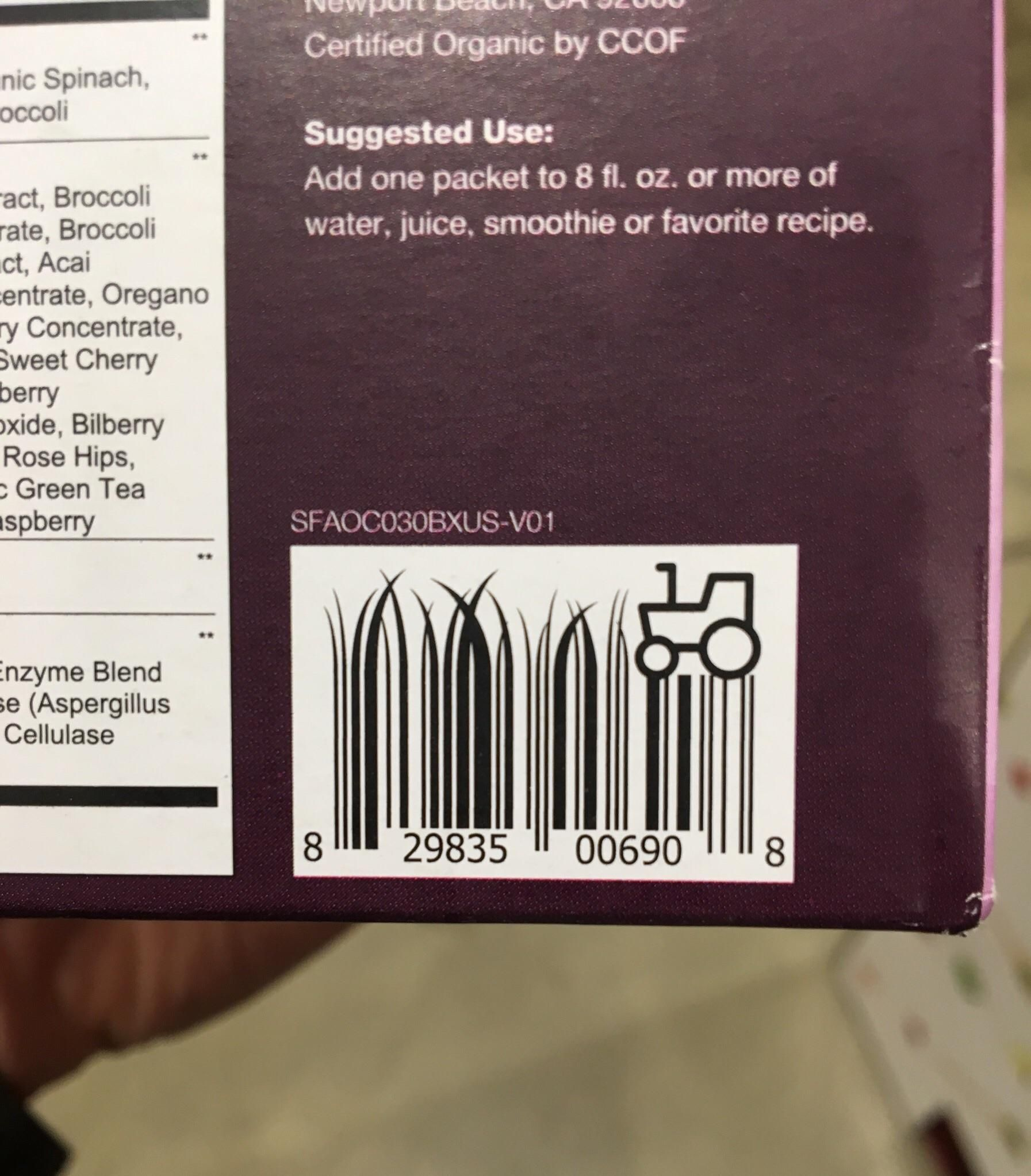 This barcode on a green antioxidant blend What is design