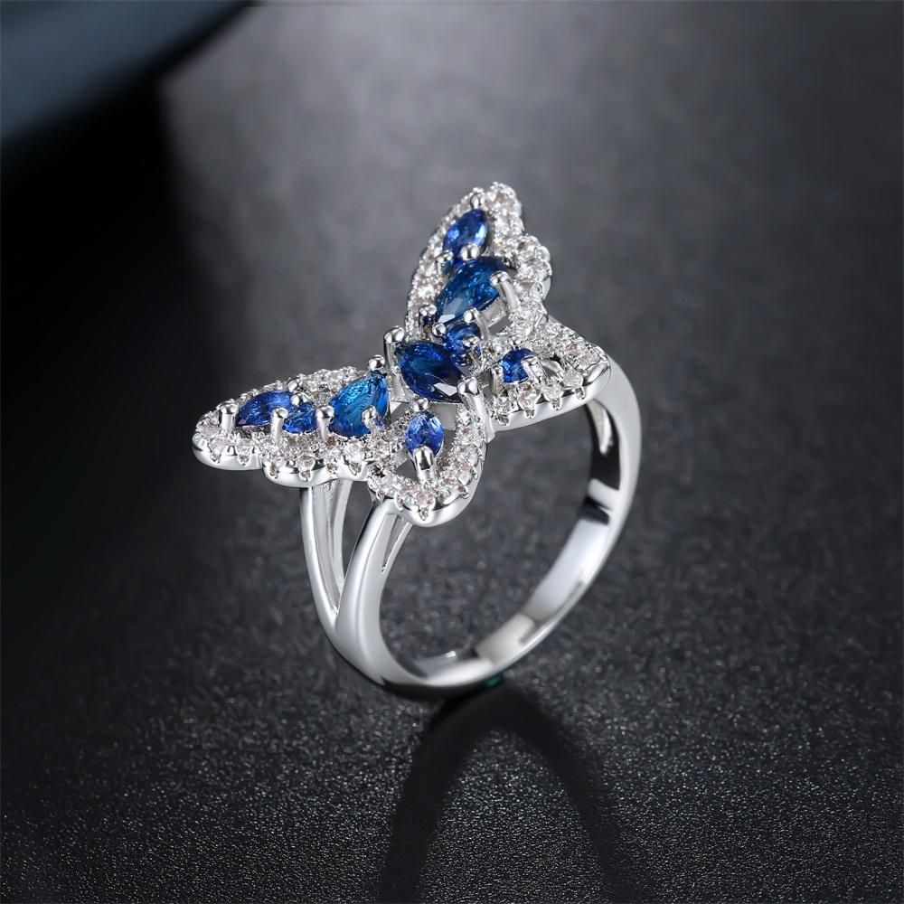Butterfly Ring Dark Blue Water drop Zirconia Insect Series