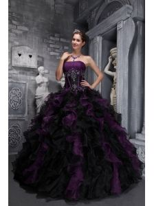 1567bdba432 Exclusive Dark Purple and Black Quinceanera Dress Strapless Taffeta and  Organza Appliques and Ruffles Ball Gown