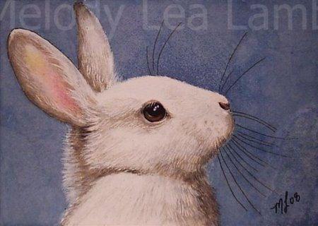 White Bunny Rabbit Miniature Art by Melody Lea Lamb ACEO Print