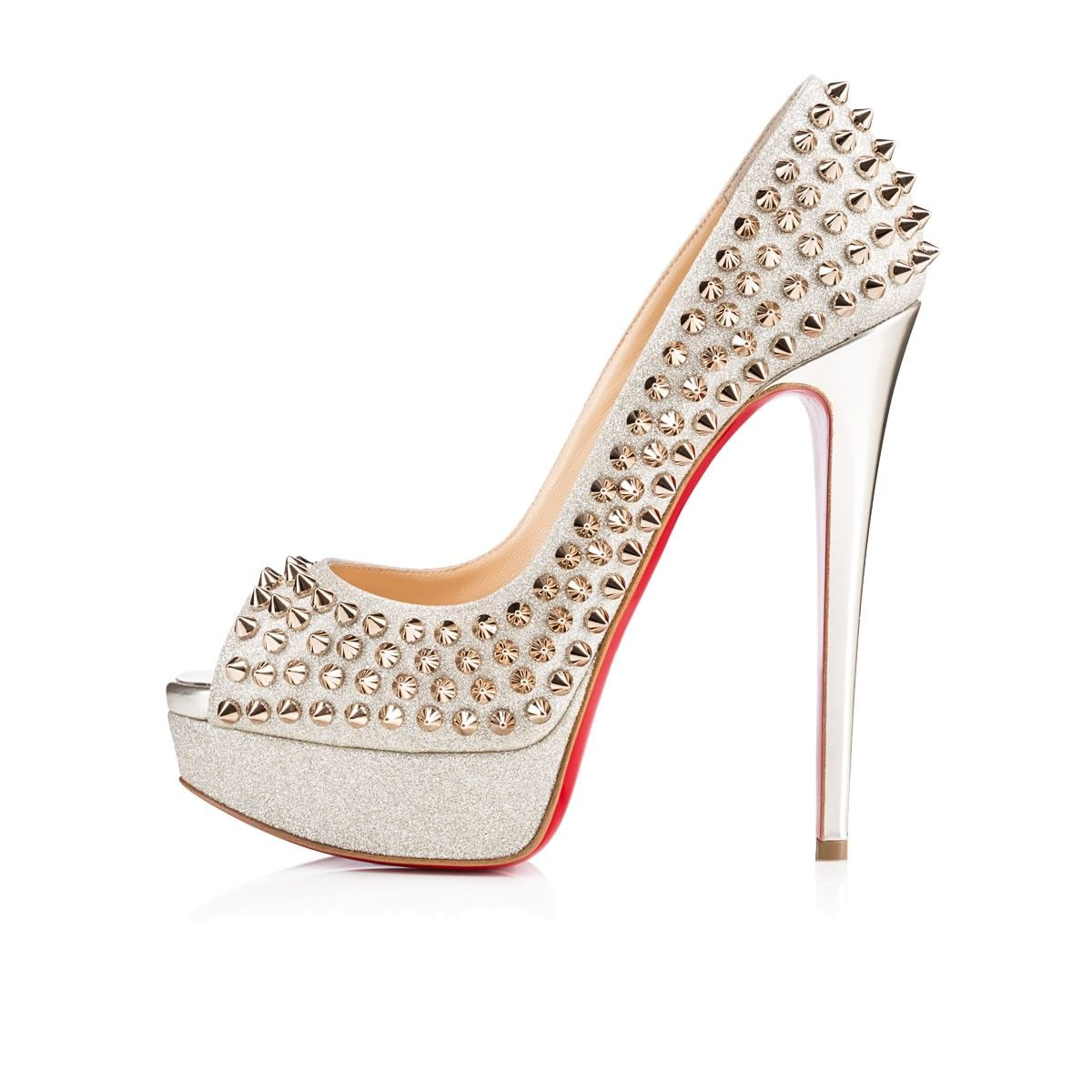 christian louboutin peep toe pumps lady 150mm spikes black