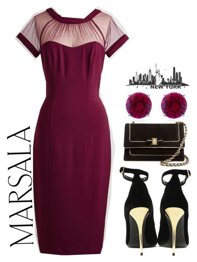 """Marsala"" by jyfashion ❤ liked on Polyvore featuring CARAT*, Balmain, Salvatore Ferragamo, polyvorecontest and marsaladress"