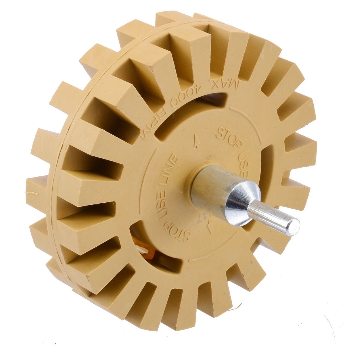 Decal Removal Eraser Wheel w// Power Drill Arbor Adapter 4 inch Rubber Pinstripe
