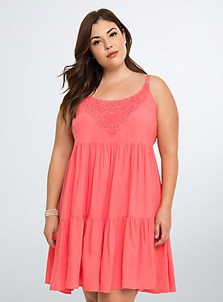 Plus Size Crochet Inset Tiered Trapeze Dress Sunkist Coral Style