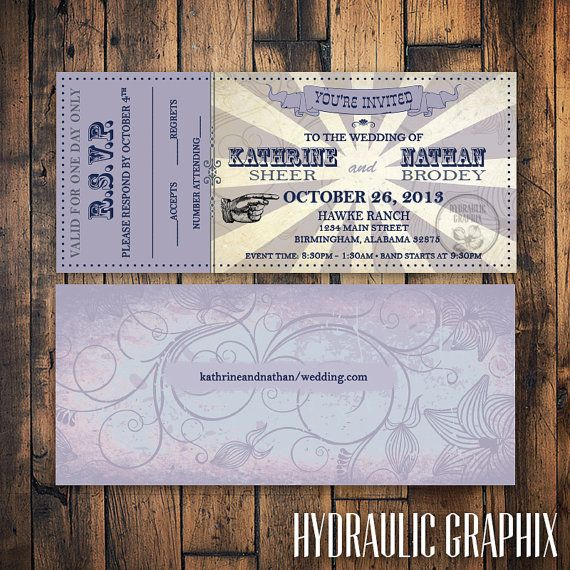 Printable Wedding Ticket Invitation And Rsvp Vip Music Concert