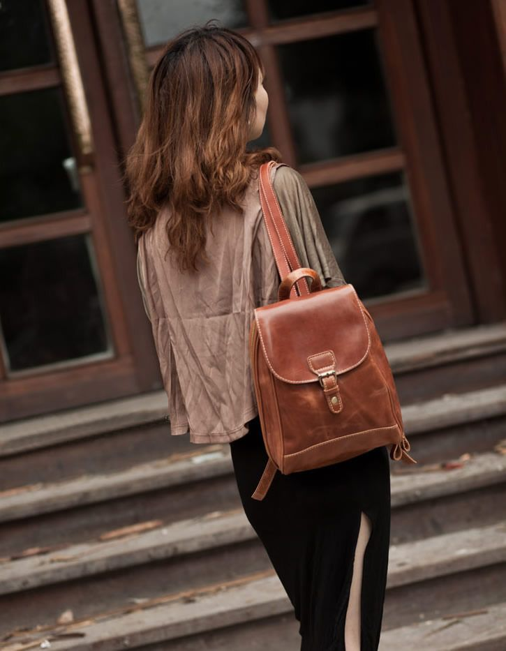 38c2c1a6435f Women s Handmade Leather Small Backpack   Day Pack   Satchel (m16 ...