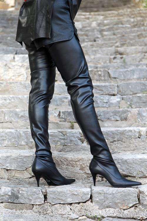 Heels Folds Und High Schrittlanger Schwarzer Boots Stiefel 01Hqfw